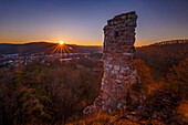 Sunset over the Chateau de Ramstein, a ruined castle in the commune of Baerenthal, in the Moselle region, France, Europe