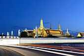 View of the Grand Palace at dusk with light trails, Bangkok, Thailand, Southeast Asia, Asia