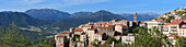 Sartene, panoramic view of town with mountains behind, Corsica, France, Europe