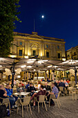 Night time outdoor restaurants in Piazza Regina in Valletta, European Capital of Culture 2018, Malta, Mediterranean, Europe