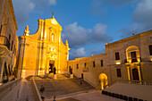 The Catedral de Rabat at night in the ancient citadel of Victoria (Rabat) in the heart of Gozo, Malta, Mediterranean, Europe