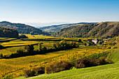 Village in the vineyards in autumn, Altvogtsburg, Oberbergen, Kaiserstuhl, Baden-Württemberg, Germany