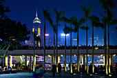 Nightview to Victoria Island from the Promenade of Kowloon, Hongkong, China