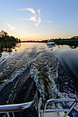 Solar boat tour on the river Peene, Anklam, Usedom, Ostseeküste, Mecklenburg-Vorpommern, Germany