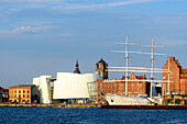 View of old town with Ozeaneum and museum ship Gorch Fock 1 in the harbor, Stralsund, Baltic Sea coast, Mecklenburg-Western Pomerania, Germany