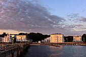 View from pier on luxury hotel Heiligendamm, Ostseeküste, Mecklenburg-Western Pomerania, Germany