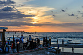 Beach bar with music band and sunset from Miedzyzdroje, Wollin island, Baltic Sea coast, Poland