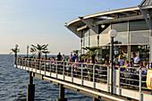 Open-air restaurant on the lake bridge, Heringsdorf, Usedom, Baltic Sea coast, Mecklenburg-Vorpommern, Germany
