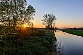 Sunset in the Recknitztal, Ostseeküste, Mecklenburg-Western Pomerania Germany