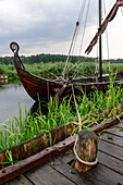 Historic wooden boat in the open-air museum Ukranenland in Torgelow, Baltic Sea coast, Mecklenburg-Vorpommern, Germany