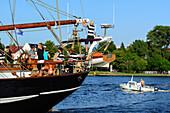 People on sailing ship, Rostock, Ostseeküste, Mecklenburg-Western Pomerania, Germany