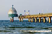 Sea bridge with diving bell on the beach of Zinnowitz, Usedom, Ostseeküste, Mecklenburg-Western Pomerania, Germany