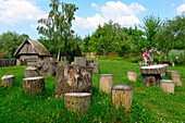 Stone Age village Kussow, Baltic Sea coast, Mecklenburg-Vorpommern, Germany