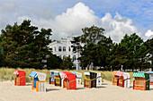 Beach with beach chairs with baeder architecture in Binz, Rügen, Ostseeküste, Mecklenburg-Western Pomerania, Germany
