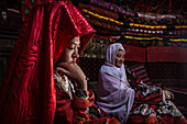 Kyrgyz woman in yurt, Pamir, Afghanistan, Asia
