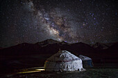 Sky full of stars above kyrgyz yurt, Pamir, Afghanistan, Asia