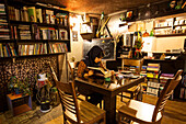 Reading woman in cafe, Esfahan, Iran, Asia