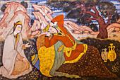 Painting in Chehel Sotun Palace, Esfahan, Iran, Asia