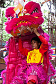 Vietnamese new year with dragon show in Saigon, Vietnam, Asia