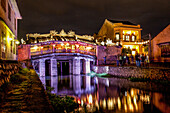 Japanese bridge in Hoi An at night, Vietnam, Asia