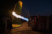Hot air balloon in the desert of Dubai, UAE, Asia