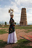 Kyrgyz woman in traditional clothes, Kyrgyzstan, Asia