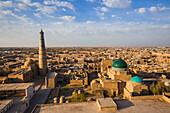 View on historical city of Khiva from Juma minaret, Uzbekistan, Asia