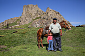 Kyrgyz family and half nomads, Kyrgyzstan, Asia