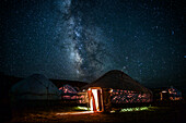 Sky full of stars above a yurt at Song Kol Lake in Kyrgyzstan, Asia