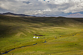 Yurts at Song Kol Lake in Kyrgyzstan, Asia
