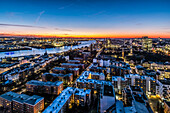 view to the river Elbe and the harbour of Hamburg in the twilight, Hamburg, north Germany, Germany
