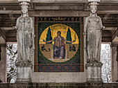 Gold mosaic Peace and statues of the Friedensdenkmal in winter, Munich, Upper Bavaria, Germany
