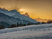Sunset at Karwendel, Gerold, Upper  Bavaria, Germany
