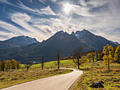 Autumn landscape at Watzmann, Ramsau, Upper Bavaria, Germany