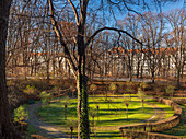 View of the park below the Friedensengel on a sunny winter day, Munich, Upper Bavaria, Germany