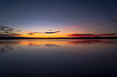 Dusk on Lake Starnberg, left the foothills of the Alps, Ambach, Upper Bavaria, Germany