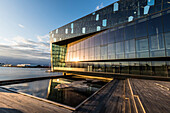 Exterior view of Harpa, a concert hall and conference centre in Reykjavik, Iceland, Polar Regions