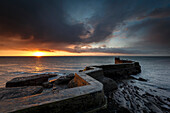 The Blocks (the ZigZag) breakwater at sunrise at the harbour of St. Monans in Fife, East Neuk, Scotland, United Kingdom, Europe
