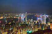 City skyline by night viewed from Victoria Peak, Hong Kong, China, Asia