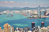 New Yau Ma Tei Typhoon Shelter and city skyline, viewed from Victoria Peak, Hong Kong, China, Asia