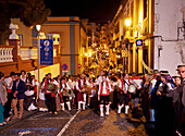 Parade at night, Baile de Magos, traditional street party, Icod de los Vinos, Tenerife Island, Canary Islands, Spain, Europe