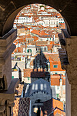 View from the Sveti Duje Cathedral over the old town of Split, Croatia, Europe