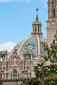 Dome of St. Francis Chapel and bell tower over the Museum of Man, Balboa Park, San Diego, California, United States of America, North America