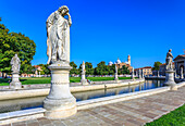 View of statues in Prato della Valle and Santa Giustina Basilica visible in background, Padua, Veneto, Italy, Europe