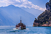 View of ferry boat on Lake Garda near Riva del Garda, Riva del Garda, Lake Garda, Trentino, Italian Lakes, Italy, Europe