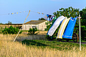 Clothesline with laundry in Neuendorf, Hiddensee, Ruegen, Ostseekueste, Mecklenburg-Vorpommern Germany