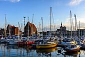 Marina with wooden ship, Stralsund, Ostseekueste, Mecklenburg-Vorpommern, Germany