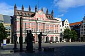 At the square Neuer Markt with City Hall, Rostock, Ostseekueste, Mecklenburg-Vorpommern Germany