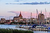 Marina with Marien Kirche in the background, Rostock, Ostseekueste, Mecklenburg-Vorpommern Germany