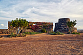Sunset at the lime kilns at Caleta de Fustes, Fuerteventura, Canary Islands, Islas Canarias, Atlantic Ocean, Spain, Europe